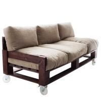 Диван из поддонов и паллет на колесах с подушками, стиль Loft (Лофт)