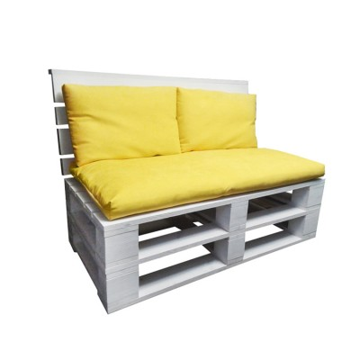 Диван из поддонов и паллет без подлокотников с подушками, стиль Loft (Лофт)