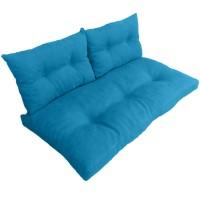 Подушки (матрас) для мебели из поддонов и паллет с пуговицами. Цвет бирюзовый. Наполнител - пенополиуретановая крошка