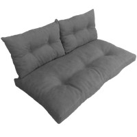Подушки (матрас) для мебели из поддонов и паллет с пуговицами. Цвет серый. Наполнител - пенополиуретановая крошка
