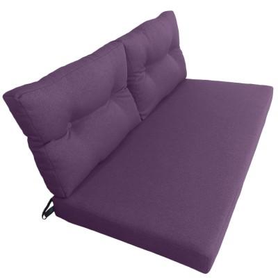 Подушки (матрас) для мебели из поддонов и паллет. Цвет фиолетовый. Наполнител - поролон. С пуговицами.